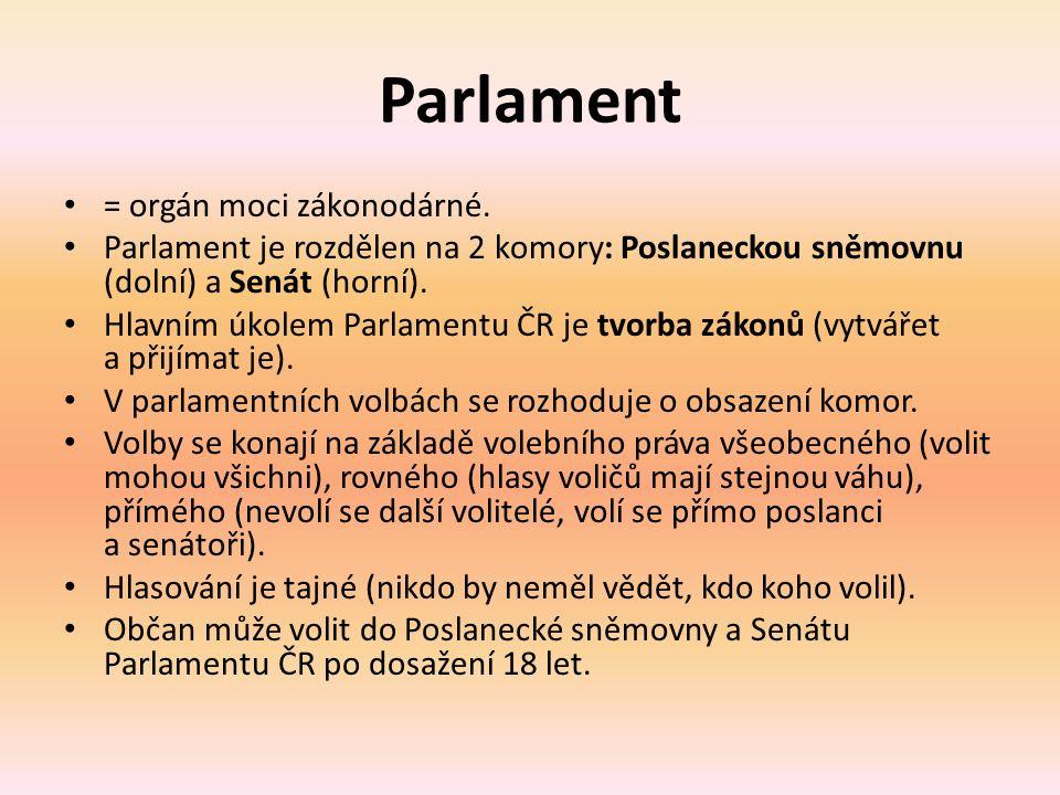 Poslanecká sněmovna = dolní komora.