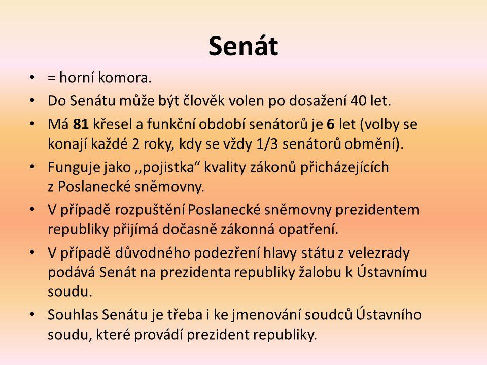 Senát = horní komora. Do Senátu může být člověk volen po dosažení 40 let.