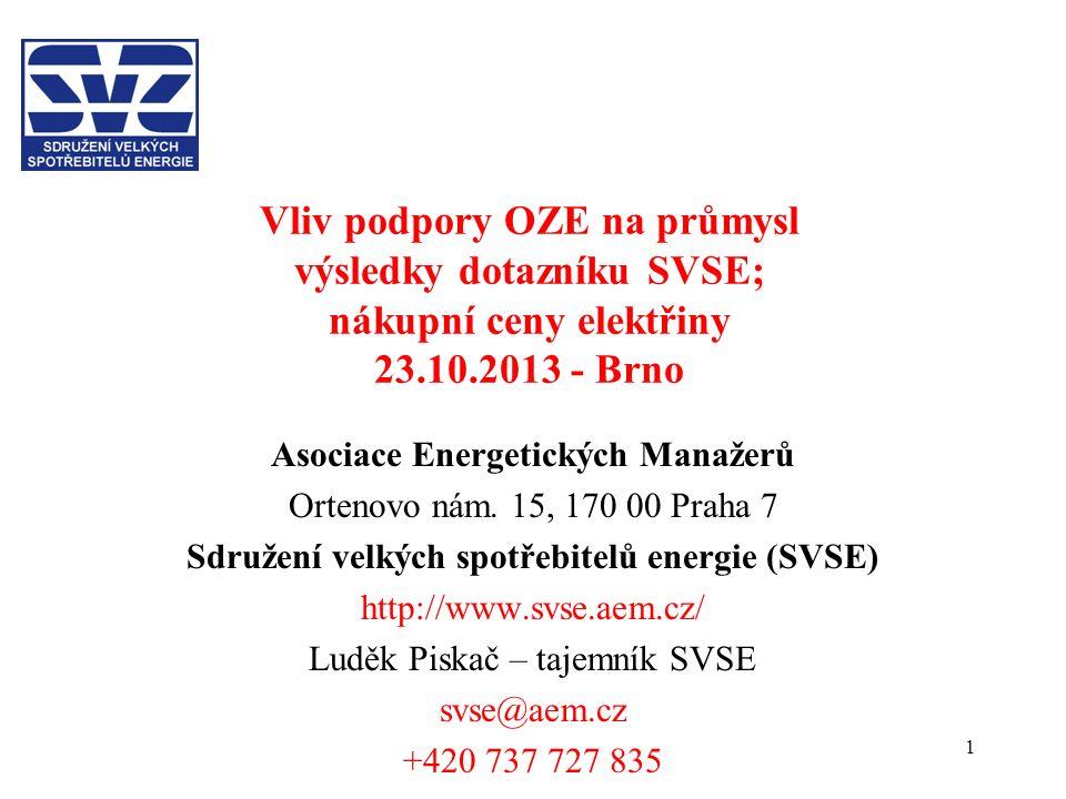 1 Vliv podpory OZE na průmysl výsledky dotazníku SVSE; nákupní ceny elektřiny 23.10.2013 - Brno Asociace Energetických Manažerů Ortenovo nám. 15, 170