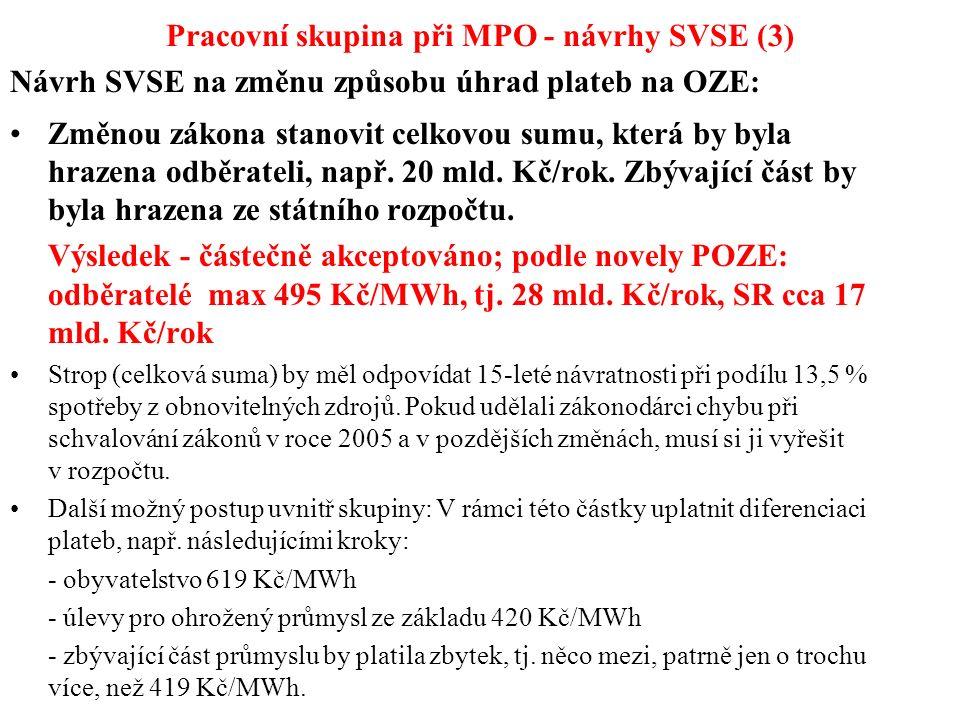 Pracovní skupina při MPO - návrhy SVSE (3) Návrh SVSE na změnu způsobu úhrad plateb na OZE: Změnou zákona stanovit celkovou sumu, která by byla hrazen