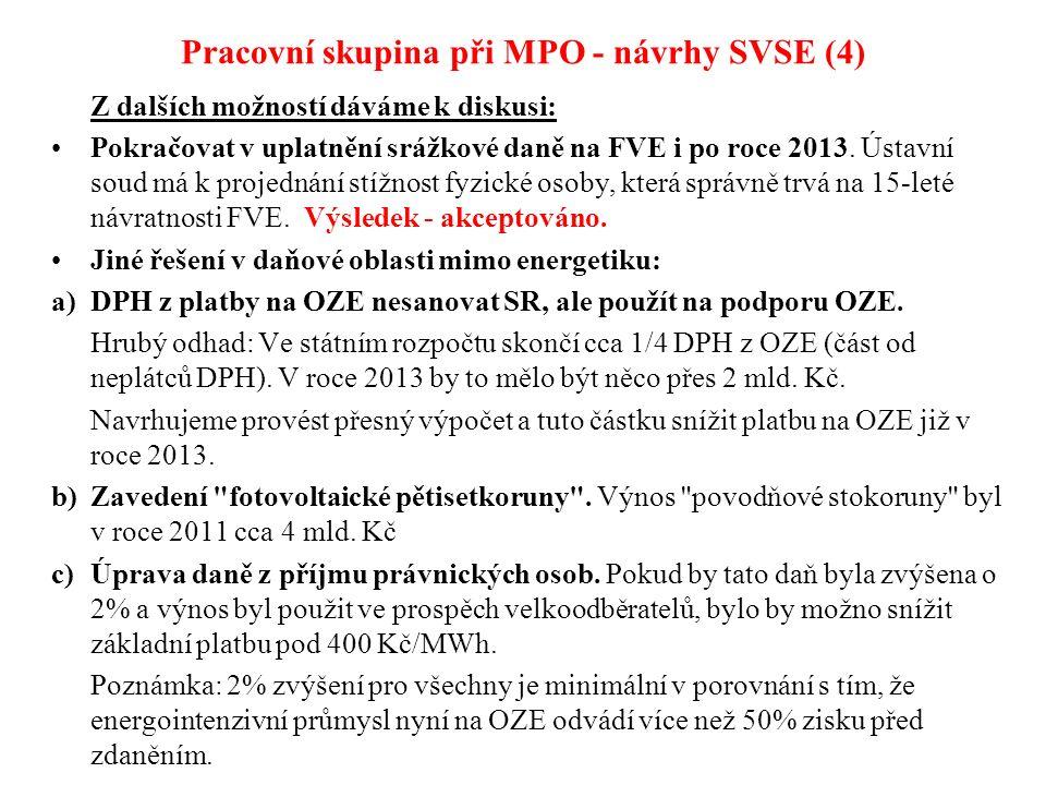 Pracovní skupina při MPO - návrhy SVSE (4) Z dalších možností dáváme k diskusi: Pokračovat v uplatnění srážkové daně na FVE i po roce 2013. Ústavní so