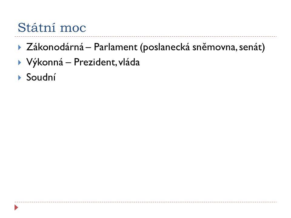 Státní moc  Zákonodárná – Parlament (poslanecká sněmovna, senát)  Výkonná – Prezident, vláda  Soudní