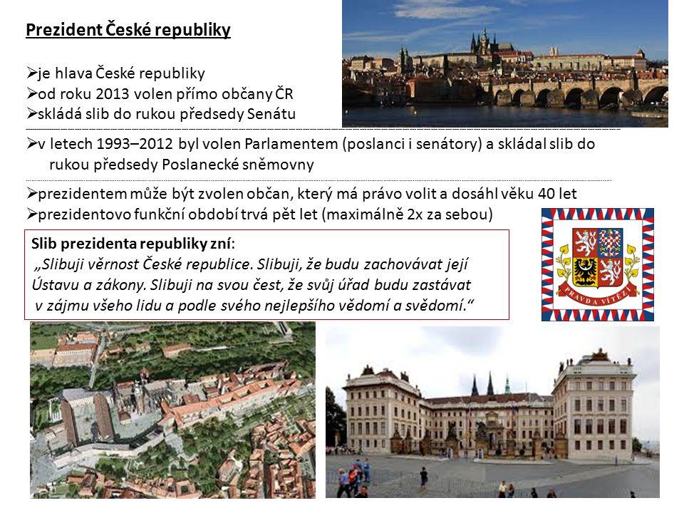 Prezident České republiky  je hlava České republiky  od roku 2013 volen přímo občany ČR  skládá slib do rukou předsedy Senátu ------------------------------------------------------------------------------------------------------------------------------------------------------------------------------------------------------------------------------------------------------------  v letech 1993–2012 byl volen Parlamentem (poslanci i senátory) a skládal slib do rukou předsedy Poslanecké sněmovny ………………………………………………………………………………………………………………………………………………………………………………………………………………………………………………………………………………………………………..