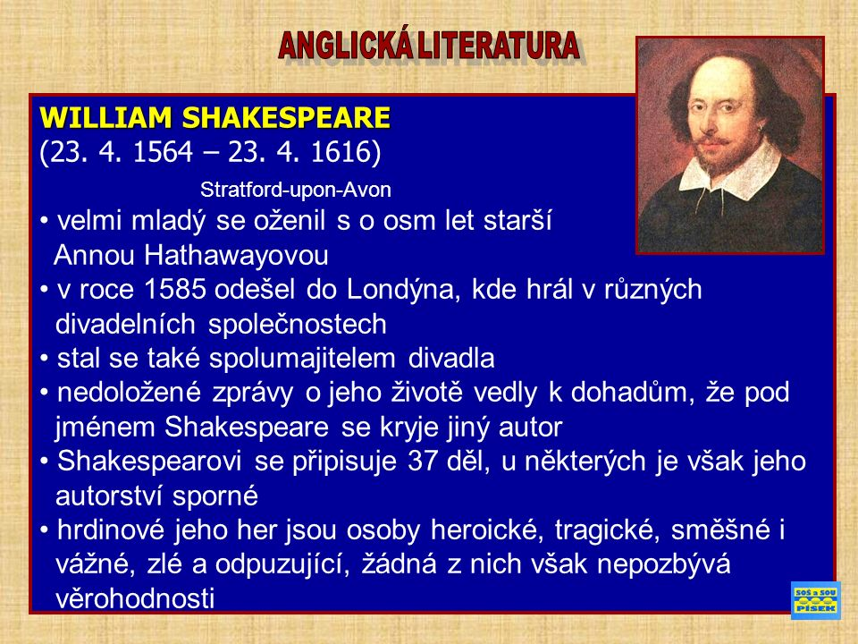 WILLIAM SHAKESPEARE (23. 4. 1564 – 23. 4.