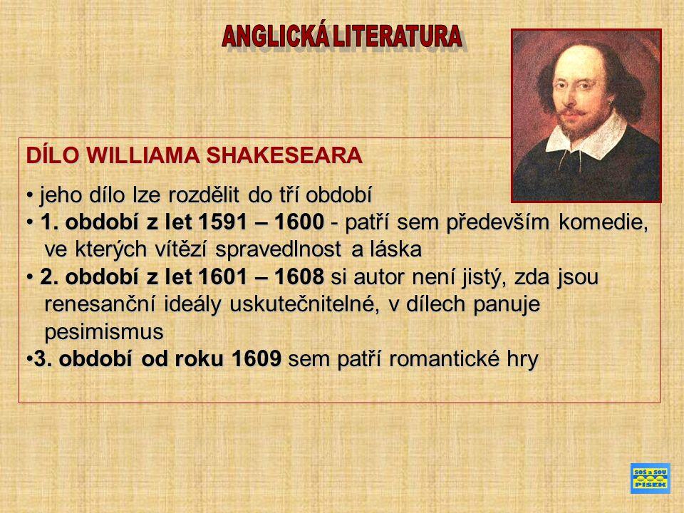 DÍLO WILLIAMA SHAKESEARA jeho dílo lze rozdělit do tří období jeho dílo lze rozdělit do tří období 1. období z let 1591 – 1600 - patří sem především k