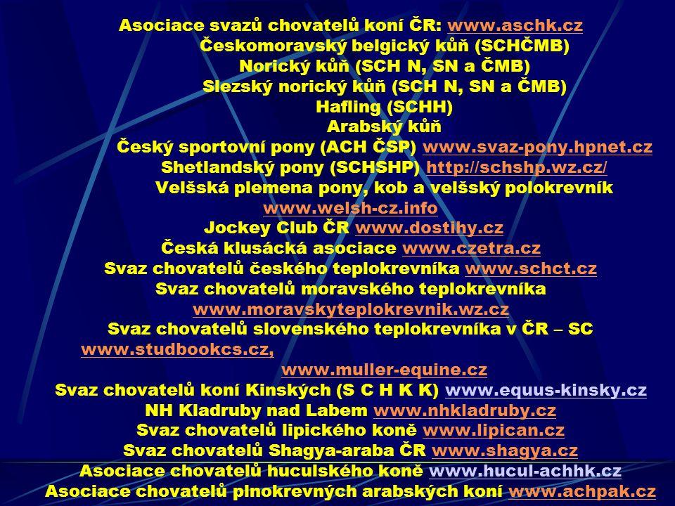 Asociace svazů chovatelů koní ČR: www.aschk.cz Českomoravský belgický kůň (SCHČMB) Norický kůň (SCH N, SN a ČMB) Slezský norický kůň (SCH N, SN a ČMB)