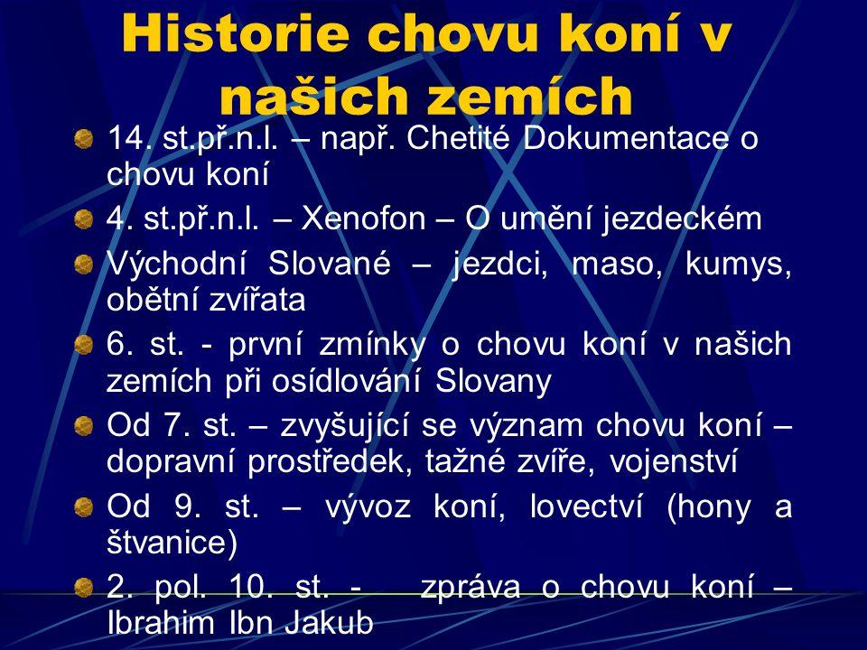 Historie chovu koní v našich zemích 14. st.př.n.l. – např. Chetité Dokumentace o chovu koní 4. st.př.n.l. – Xenofon – O umění jezdeckém Východní Slova