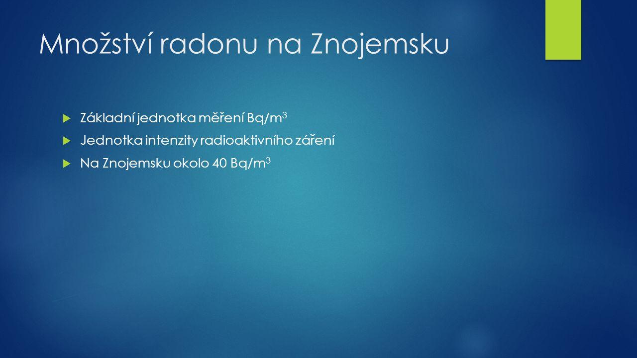Množství radonu na Znojemsku  Základní jednotka měření Bq/m 3  Jednotka intenzity radioaktivního záření  Na Znojemsku okolo 40 Bq/m 3