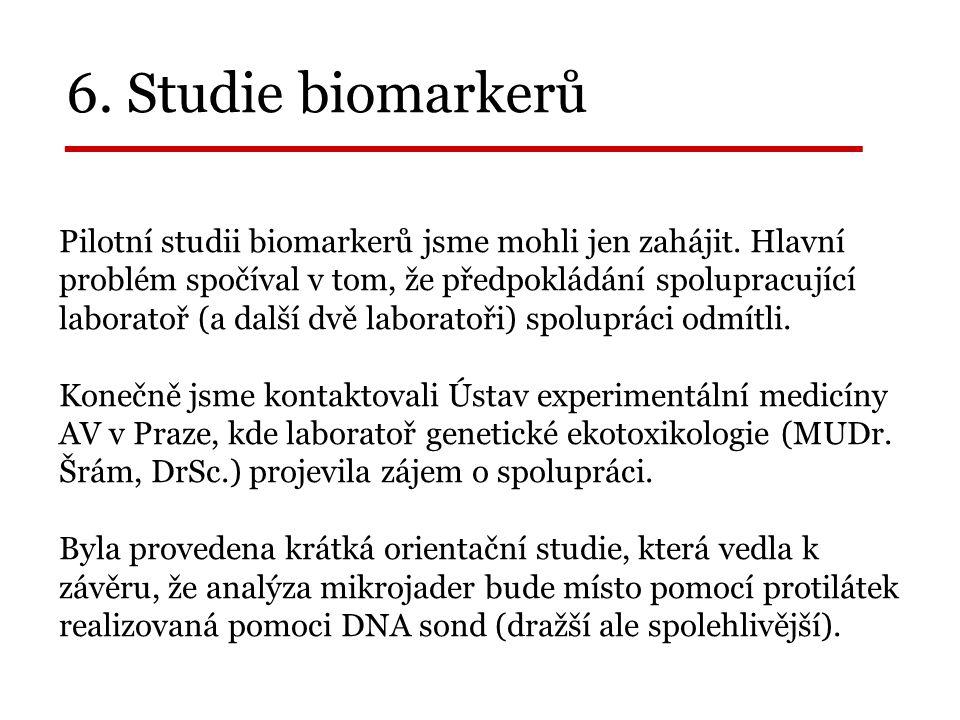 6. Studie biomarkerů _______________ Pilotní studii biomarkerů jsme mohli jen zahájit.