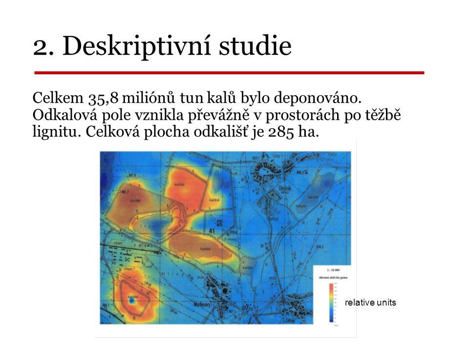 2. Deskriptivní studie _______________ relative units Celkem 35,8 miliónů tun kalů bylo deponováno.