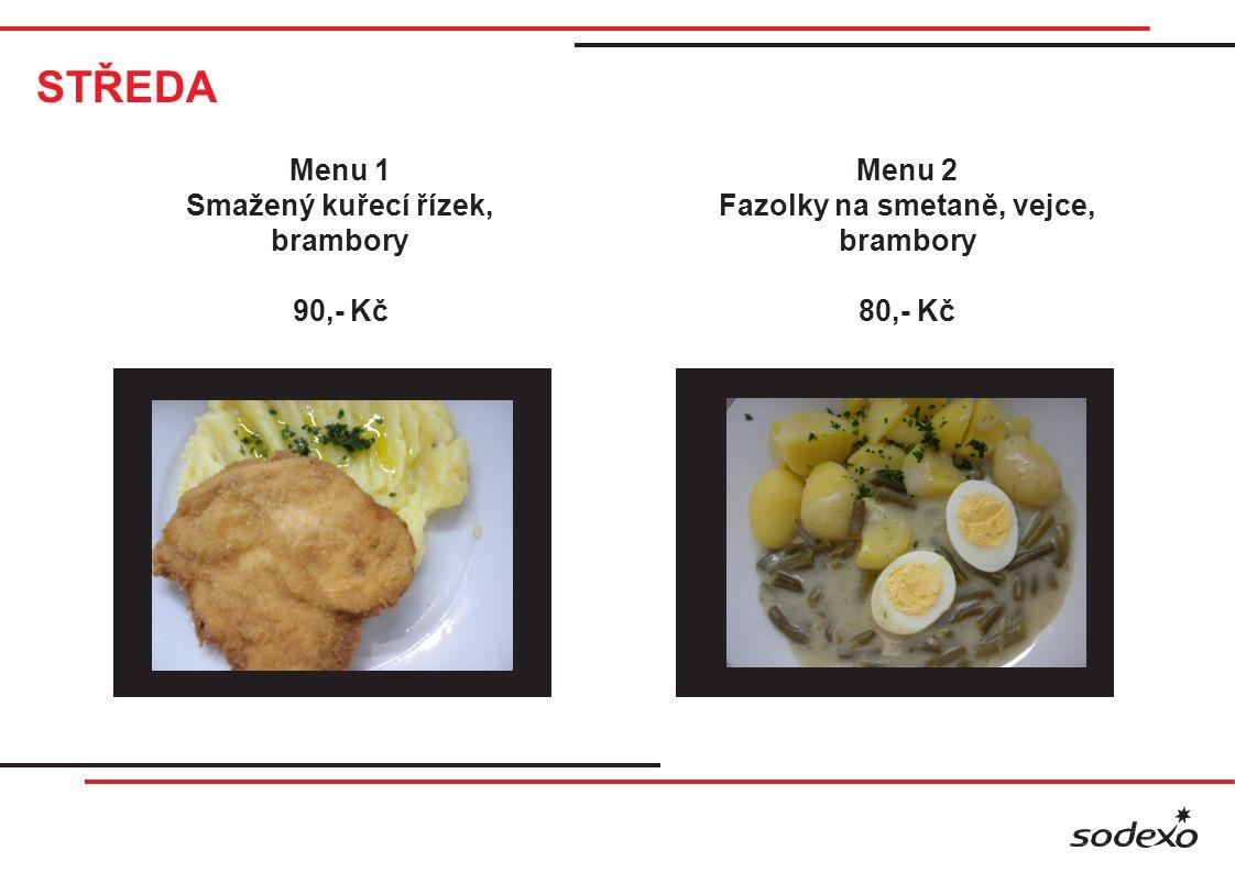 STŘEDA Menu 1 Smažený kuřecí řízek, brambory 90,- Kč Menu 2 Fazolky na smetaně, vejce, brambory 80,- Kč