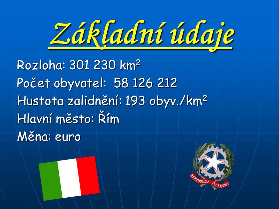 Základní údaje Rozloha: 301 230 km2 Počet obyvatel: 58 126 212 Hustota zalidnění: 193 obyv./km2 Hlavní město: Řím Měna: euro