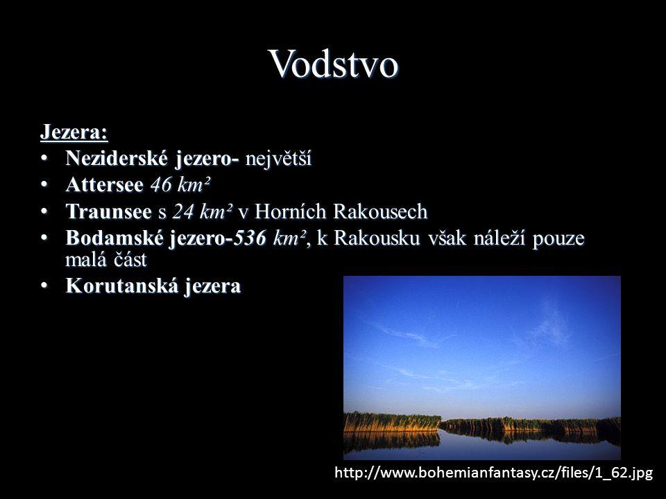 Vodstvo Jezera: Neziderské jezero- největší Neziderské jezero- největší Attersee 46 km² Attersee 46 km² Traunsee s 24 km² v Horních Rakousech Traunsee s 24 km² v Horních Rakousech Bodamské jezero-536 km², k Rakousku však náleží pouze malá část Bodamské jezero-536 km², k Rakousku však náleží pouze malá část Korutanská jezera Korutanská jezera http://www.bohemianfantasy.cz/files/1_62.jpg