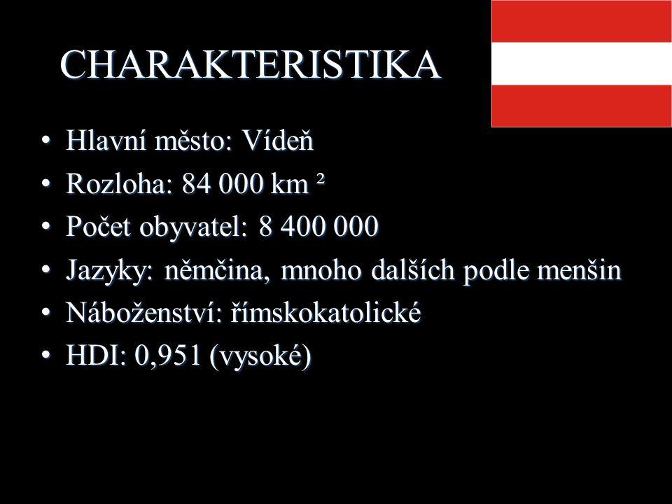 CHARAKTERISTIKA Hlavní město: Vídeň Hlavní město: Vídeň Rozloha: 84 000 km ² Rozloha: 84 000 km ² Počet obyvatel: 8 400 000 Počet obyvatel: 8 400 000 Jazyky: němčina, mnoho dalších podle menšin Jazyky: němčina, mnoho dalších podle menšin Náboženství: římskokatolické Náboženství: římskokatolické HDI: 0,951 (vysoké) HDI: 0,951 (vysoké)