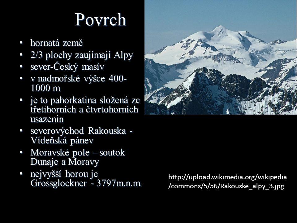 Povrch hornatá země hornatá země 2/3 plochy zaujímají Alpy 2/3 plochy zaujímají Alpy sever-Český masív sever-Český masív v nadmořské výšce 400- 1000 m v nadmořské výšce 400- 1000 m je to pahorkatina složená ze třetihorních a čtvrtohorních usazenin je to pahorkatina složená ze třetihorních a čtvrtohorních usazenin severovýchod Rakouska - Vídeňská pánev severovýchod Rakouska - Vídeňská pánev Moravské pole – soutok Dunaje a Moravy Moravské pole – soutok Dunaje a Moravy nejvyšší horou je Grossglockner - 3797m.n.m.