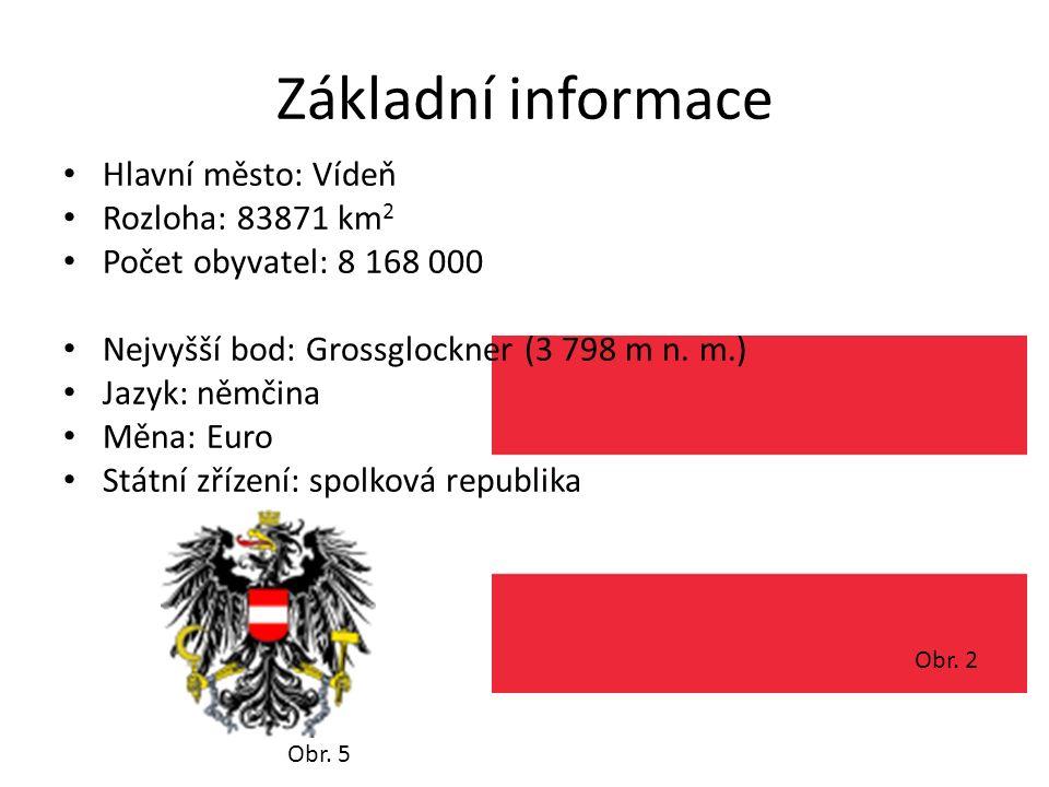 Obr. 2 Základní informace Hlavní město: Vídeň Rozloha: 83871 km 2 Počet obyvatel: 8 168 000 Nejvyšší bod: Grossglockner (3 798 m n. m.) Jazyk: němčina