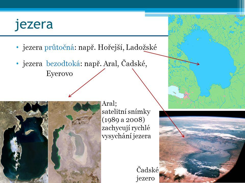jezera jezera průtočná: např. Hořejší, Ladožské jezera bezodtoká: např. Aral, Čadské, Eyerovo Aral; satelitní snímky (1989 a 2008) zachycují rychlé vy