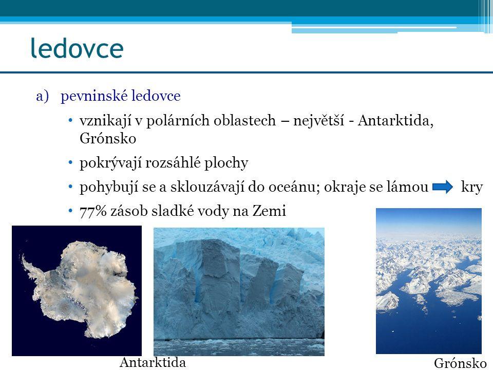 ledovce a)pevninské ledovce vznikají v polárních oblastech – největší - Antarktida, Grónsko pokrývají rozsáhlé plochy pohybují se a sklouzávají do oce