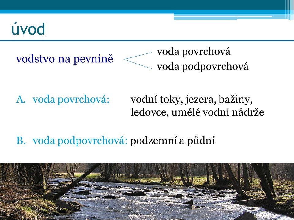 úvod vodstvo na pevnině A.voda povrchová: vodní toky, jezera, bažiny, ledovce, umělé vodní nádrže B.voda podpovrchová: podzemní a půdní voda povrchová