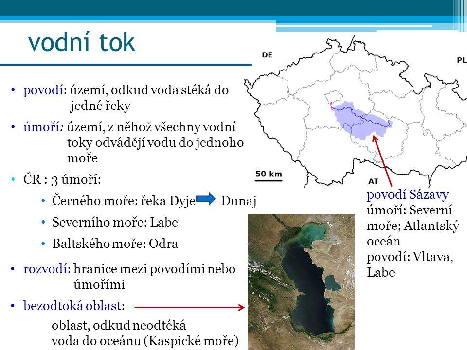 vodní tok povodí: území, odkud voda stéká do jedné řeky úmoří: území, z něhož všechny vodní toky odvádějí vodu do jednoho moře ČR : 3 úmoří: Černého m
