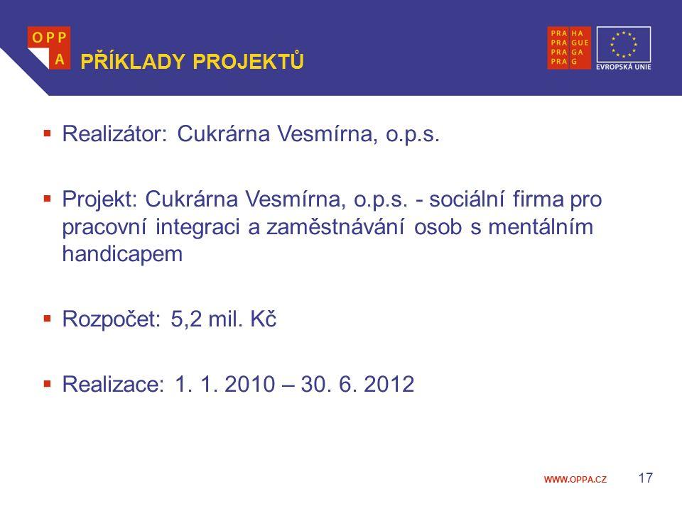 WWW.OPPA.CZ 17 PŘÍKLADY PROJEKTŮ  Realizátor: Cukrárna Vesmírna, o.p.s.