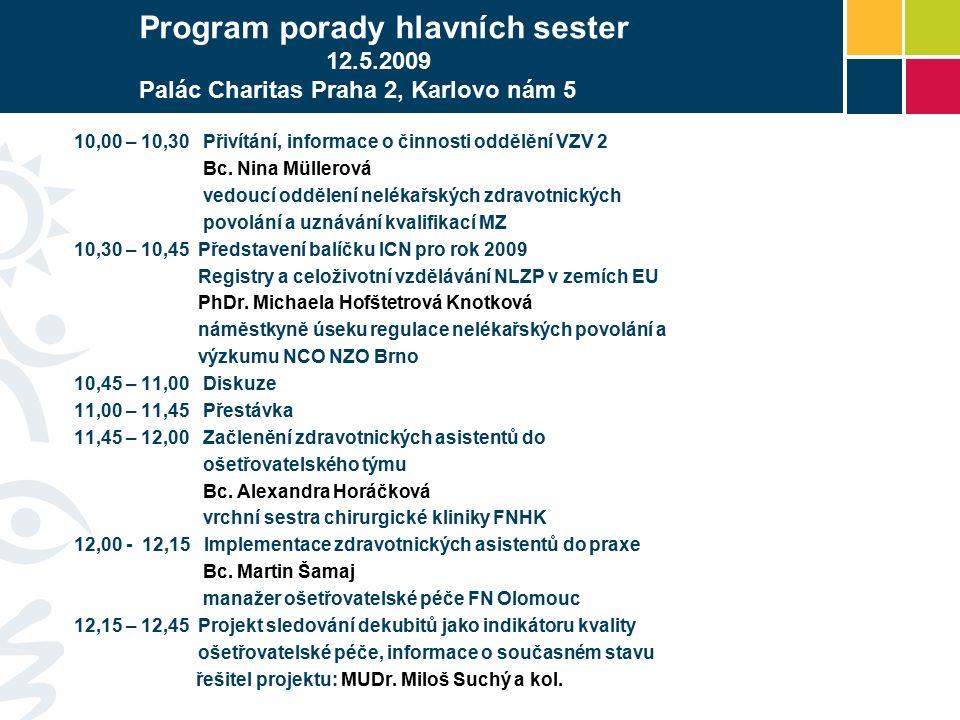 Program porady hlavních sester 12.5.2009 Palác Charitas Praha 2, Karlovo nám 5 10,00 – 10,30 Přivítání, informace o činnosti oddělění VZV 2 Bc.