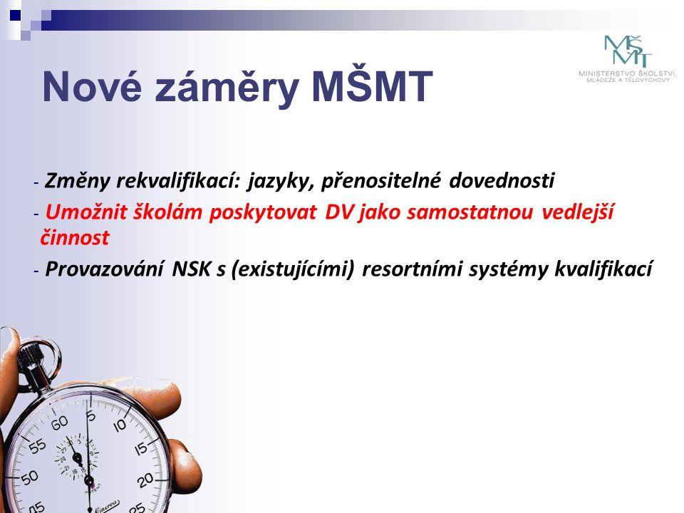 Nové záměry MŠMT - Změny rekvalifikací: jazyky, přenositelné dovednosti - Umožnit školám poskytovat DV jako samostatnou vedlejší činnost - Provazování NSK s (existujícími) resortními systémy kvalifikací