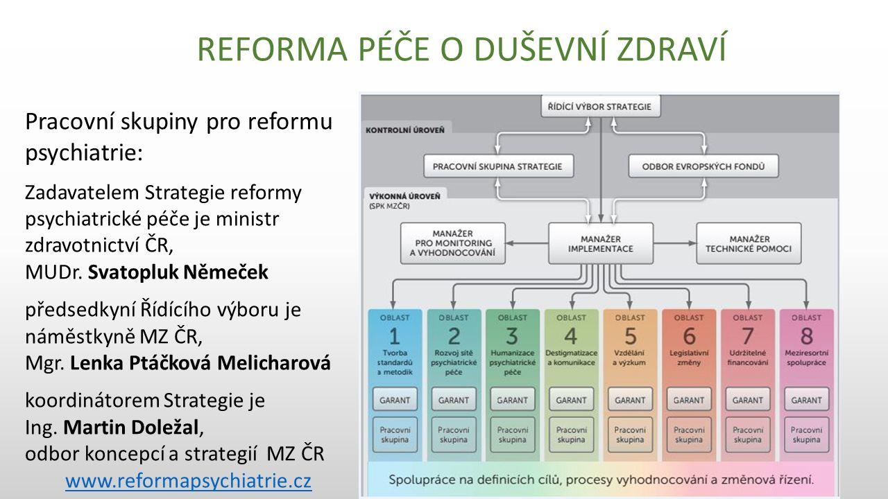 Pracovní skupiny pro reformu psychiatrie: Zadavatelem Strategie reformy psychiatrické péče je ministr zdravotnictví ČR, MUDr.