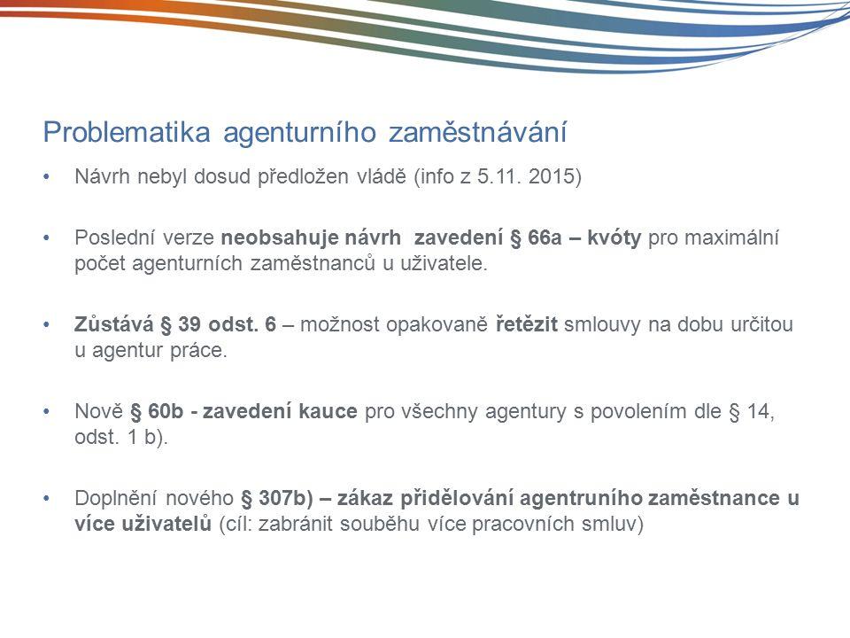 Problematika agenturního zaměstnávání Návrh nebyl dosud předložen vládě (info z 5.11.