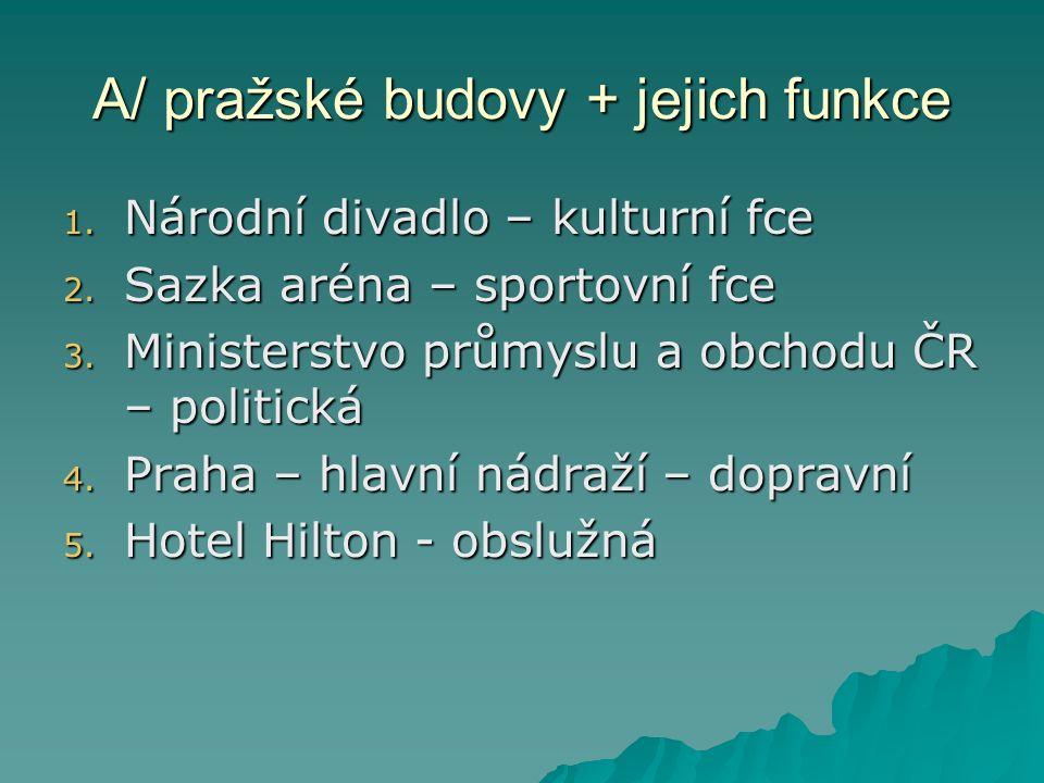 A/ pražské budovy + jejich funkce 1. Národní divadlo – kulturní fce 2.