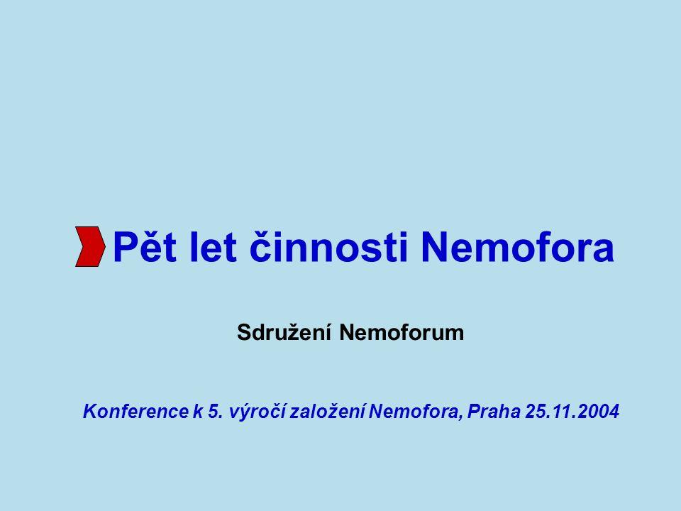 1999 20002001200220032004 Pět let činnosti Nemofora Sdružení Nemoforum bylo založeno 14.