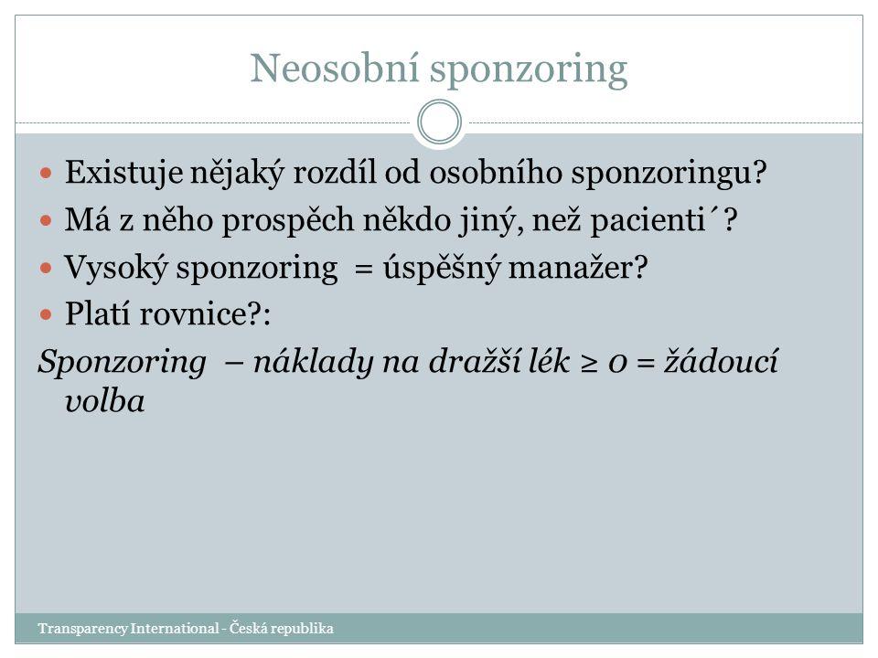 Neosobní sponzoring Transparency International - Česká republika Existuje nějaký rozdíl od osobního sponzoringu? Má z něho prospěch někdo jiný, než pa