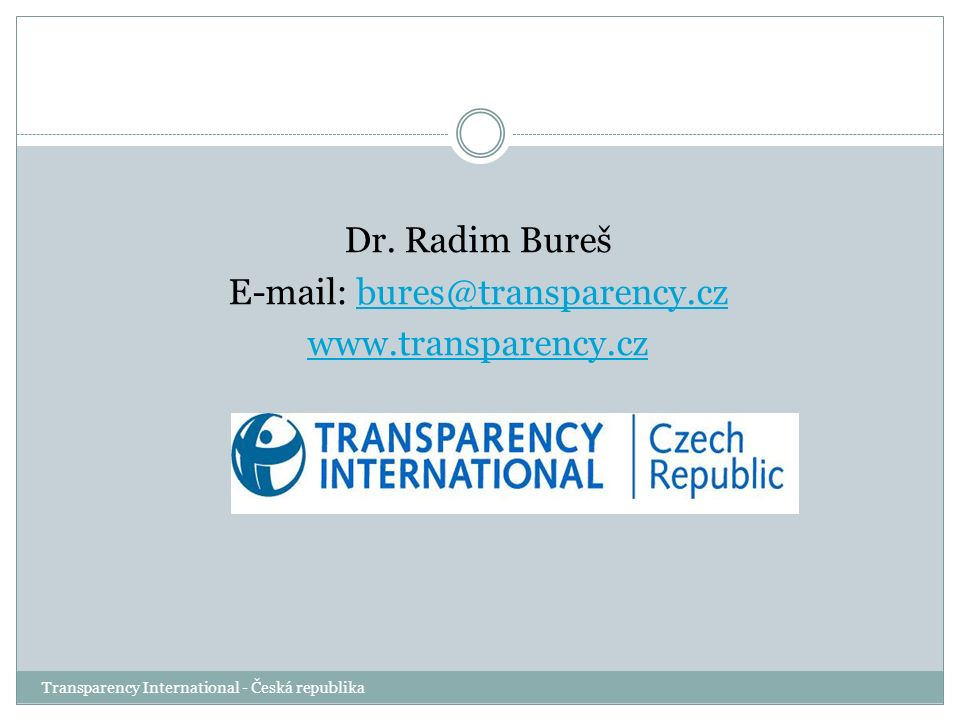 Transparency International - Česká republika Dr.