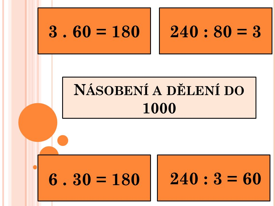 N ÁSOBENÍ A DĚLENÍ DO 1000 3. 60 = 180240 : 80 = 3 240 : 3 = 60 6. 30 = 180