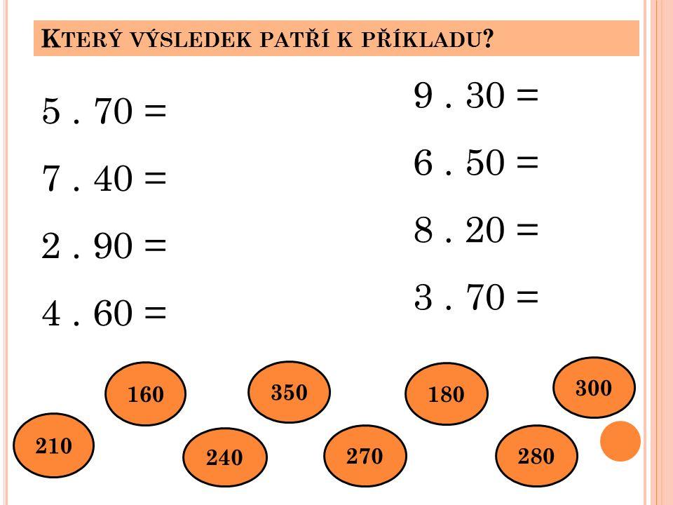 K TERÝ VÝSLEDEK PATŘÍ K PŘÍKLADU . 5. 70 = 7. 40 = 2.