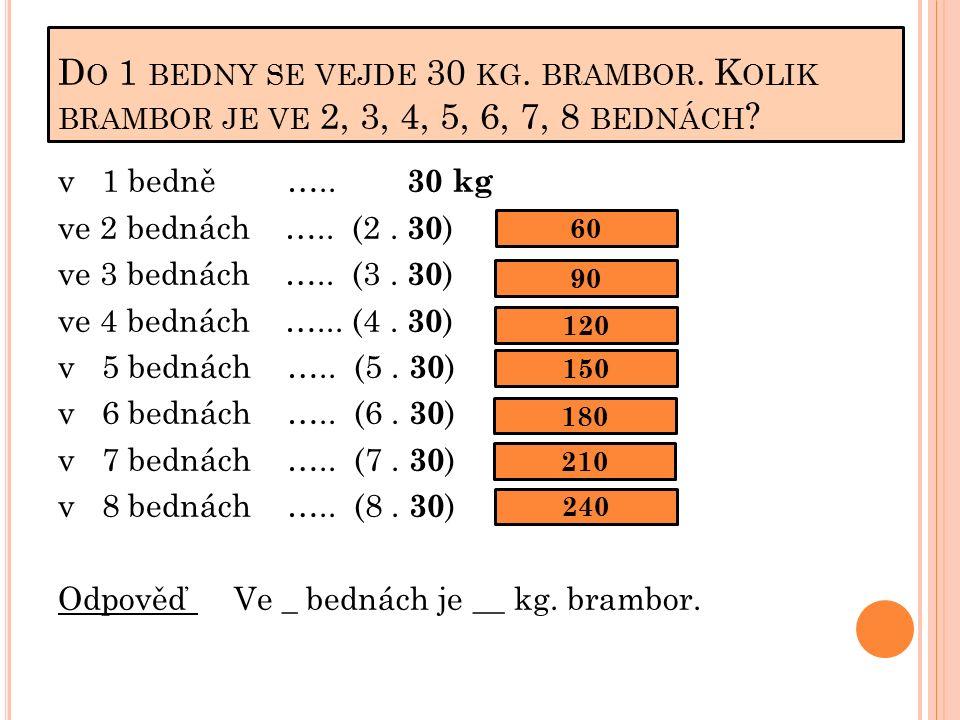 D O 1 BEDNY SE VEJDE 30 KG. BRAMBOR. K OLIK BRAMBOR JE VE 2, 3, 4, 5, 6, 7, 8 BEDNÁCH .
