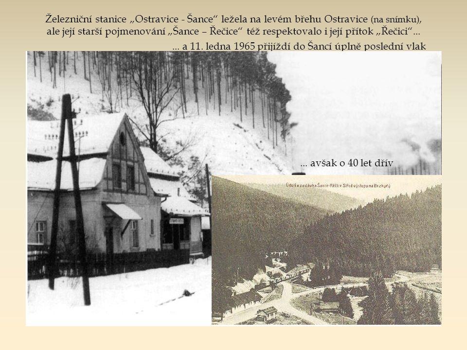 """Zastávka s nákladištěm """"MAZÁK"""" byly přímo na břehu řeky Ostravice.... 65 m vysoká sypaná hráz Pohled z levého okraje přehradní zdi, tj. asi v místě na"""