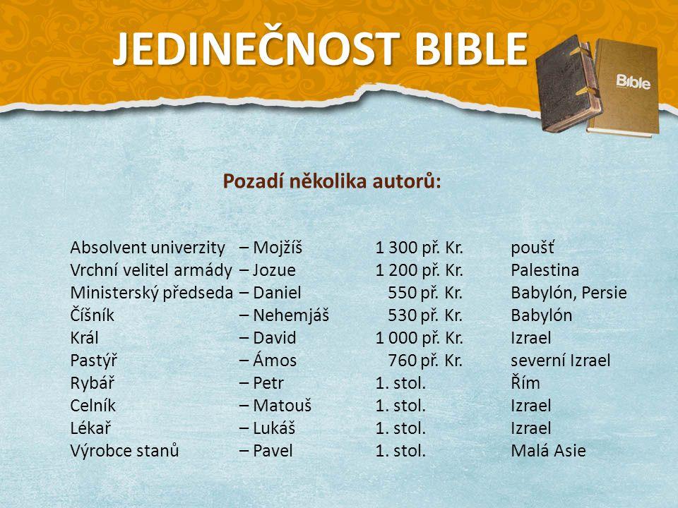Absolvent univerzity – Mojžíš1 300 př. Kr.poušť Vrchní velitel armády – Jozue1 200 př.
