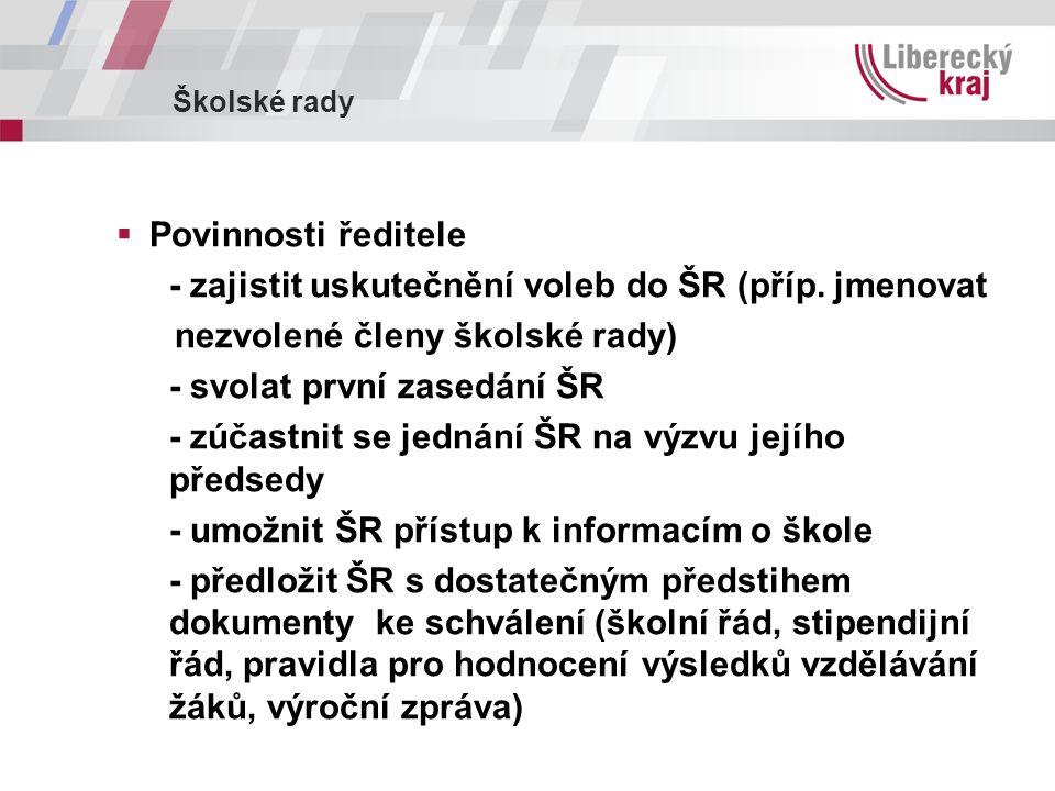 Školské rady  Povinnosti ředitele - zajistit uskutečnění voleb do ŠR (příp.