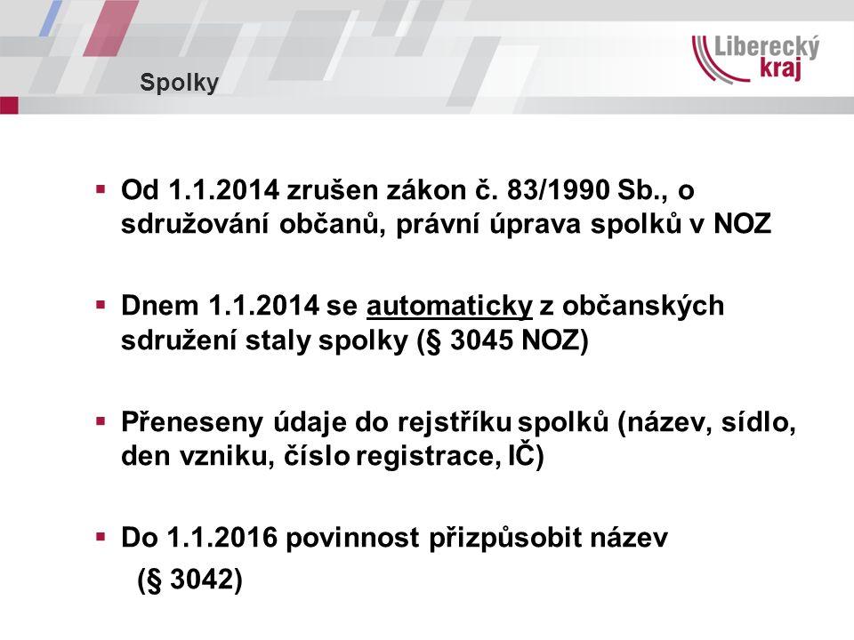 Spolky  Od 1.1.2014 zrušen zákon č.