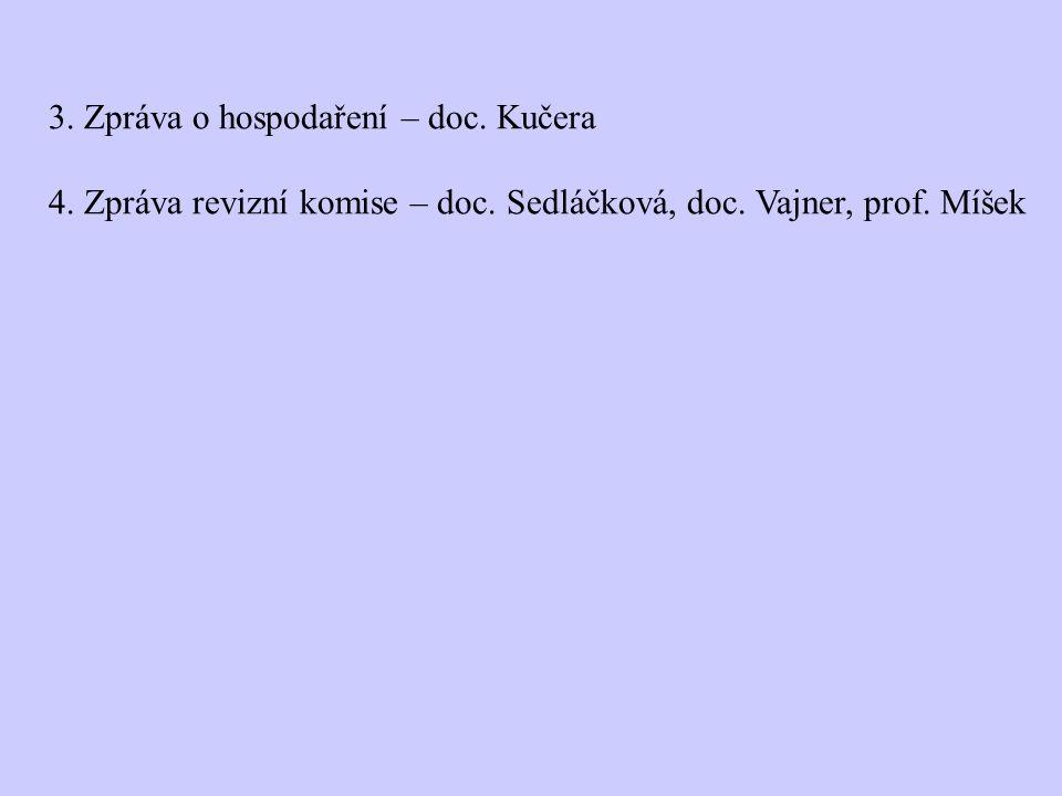 3. Zpráva o hospodaření – doc. Kučera 4. Zpráva revizní komise – doc. Sedláčková, doc. Vajner, prof. Míšek