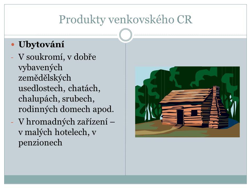 Produkty venkovského CR Ubytování - V soukromí, v dobře vybavených zemědělských usedlostech, chatách, chalupách, srubech, rodinných domech apod.