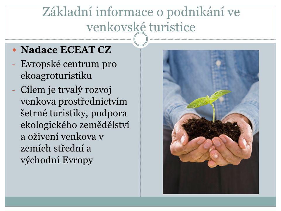 Základní informace o podnikání ve venkovské turistice Nadace ECEAT CZ - Evropské centrum pro ekoagroturistiku - Cílem je trvalý rozvoj venkova prostřednictvím šetrné turistiky, podpora ekologického zemědělství a oživení venkova v zemích střední a východní Evropy