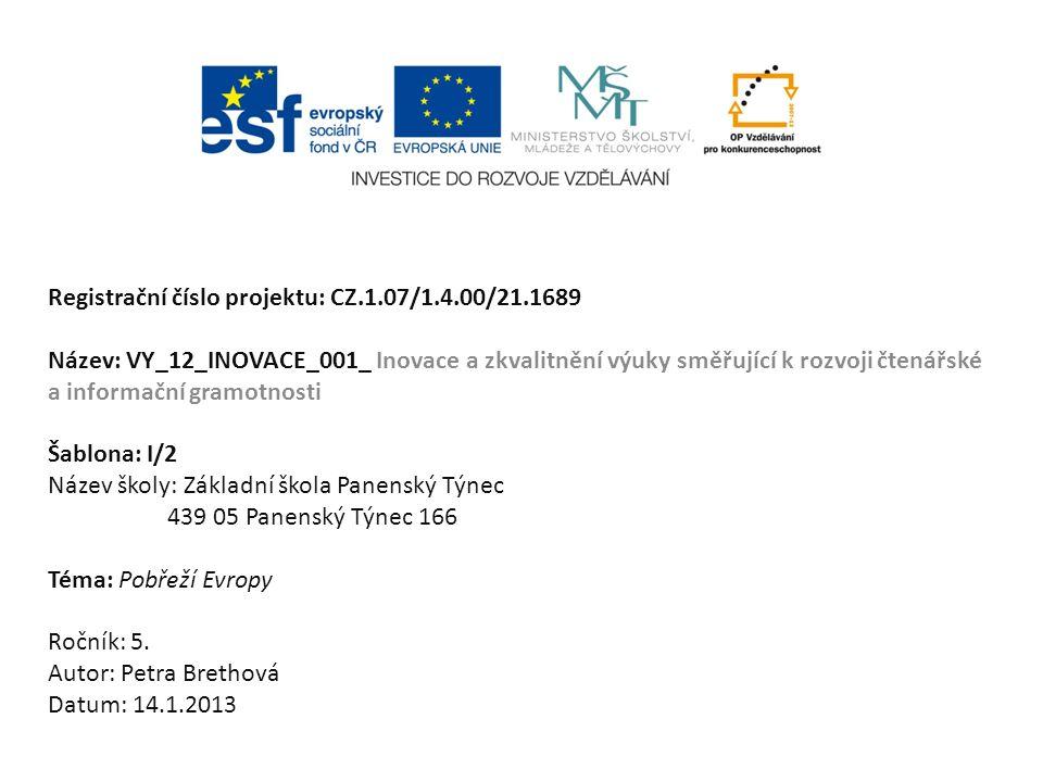 Registrační číslo projektu: CZ.1.07/1.4.00/21.1689 Název: VY_12_INOVACE_001_ Inovace a zkvalitnění výuky směřující k rozvoji čtenářské a informační gr