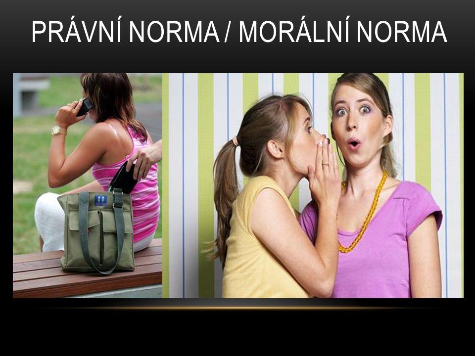 PRÁVNÍ NORMA / MORÁLNÍ NORMA