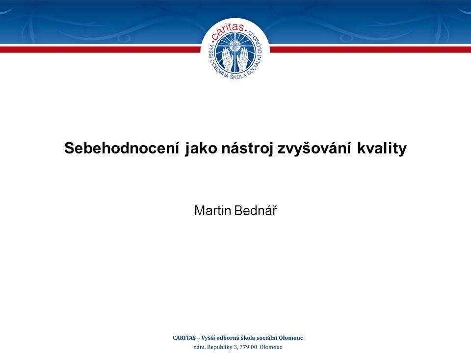 Sebehodnocení jako nástroj zvyšování kvality Martin Bednář