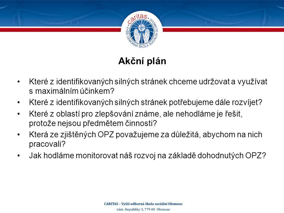 Akční plán Které z identifikovaných silných stránek chceme udržovat a využívat s maximálním účinkem.