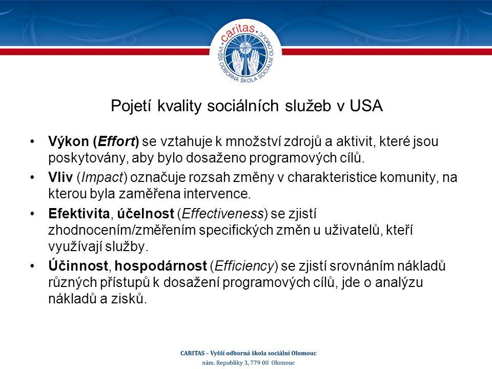 Pojetí kvality sociálních služeb v USA Výkon (Effort) se vztahuje k množství zdrojů a aktivit, které jsou poskytovány, aby bylo dosaženo programových cílů.