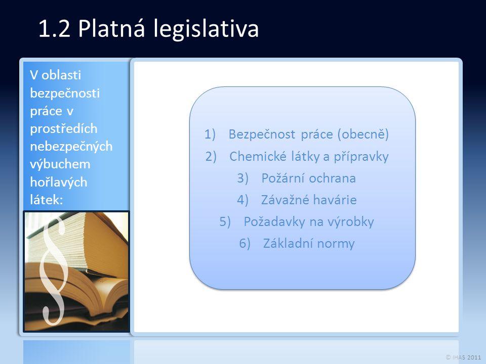 © IHAS 2011 2.1 Bezpečnost práce (obecně)  Zaměstnavatel je povinen  vytvářet bezpečné a zdraví neohrožující pracovní prostředí  vytvářet pracovní podmínky vhodnou organizací bezpečnosti a ochrany zdraví při práci a přijímáním opatření k předcházení rizikům.