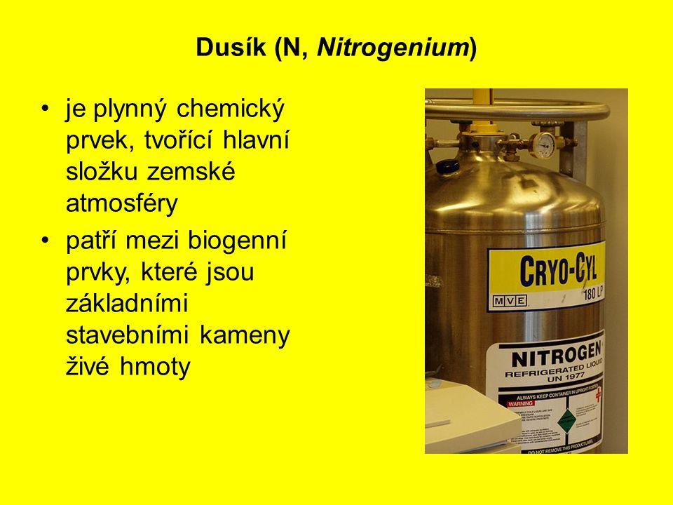 Dusík (N, Nitrogenium) je plynný chemický prvek, tvořící hlavní složku zemské atmosféry patří mezi biogenní prvky, které jsou základními stavebními ka